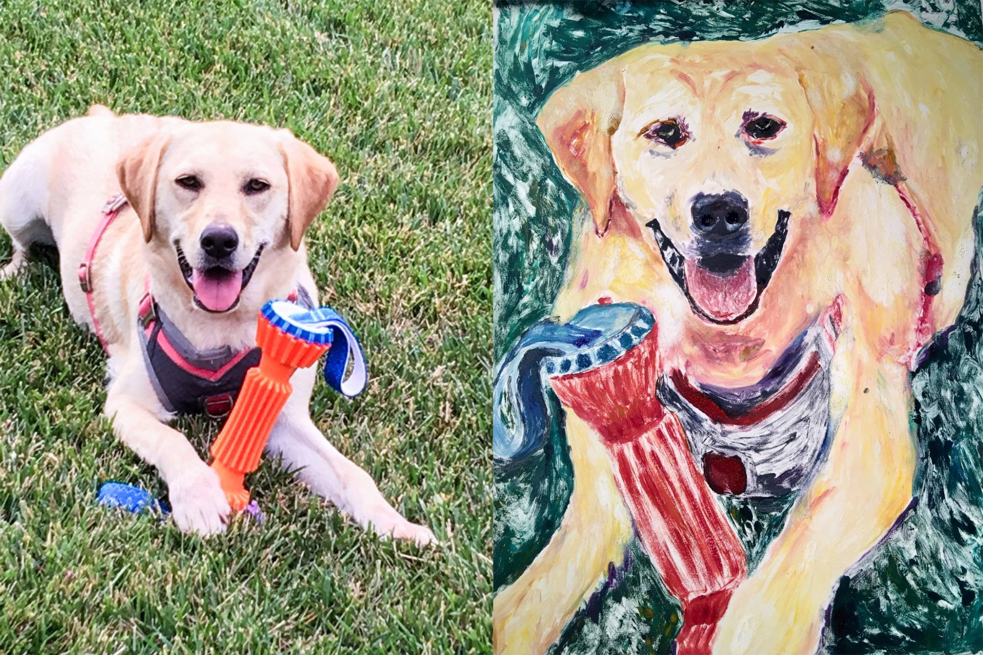 Bailey the dog next to his portrait